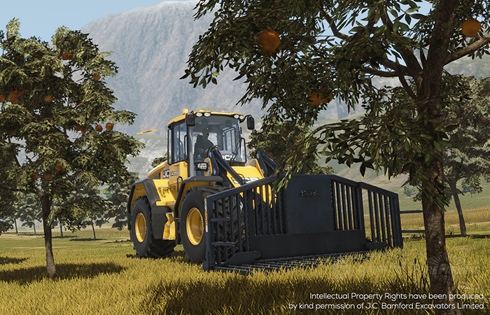 Oranges and the JCB Large Wheeled Loader 435S available for everyone